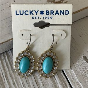 LUCKY BRAND Turquoise Drop Earrings Gold Tone NWT